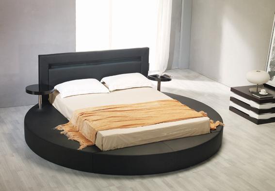 Palazzo-Leatherette-Round-Platform-Bed-Black