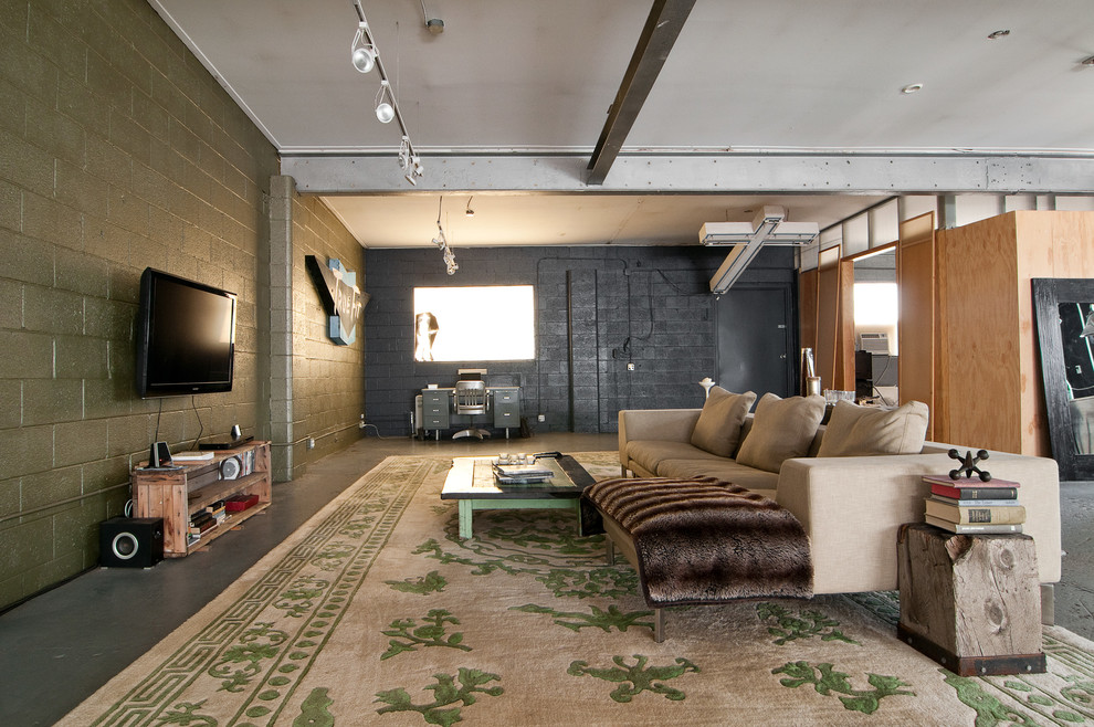 Spectacular-Unfinished-Basement-Ideas-Decorating-Ideas-Images-in-Living-Room-Industrial-design-ideas-