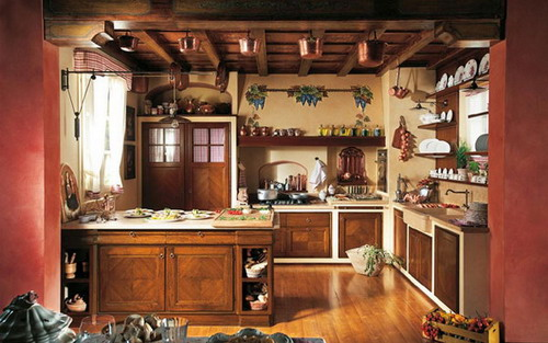 Wooden-cabinets-beautiful-rustic-kitchen-decor-design