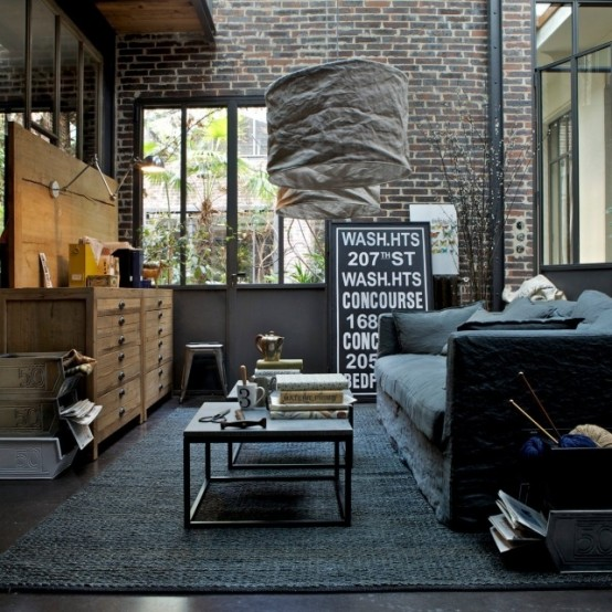 black-sofa-rug-industrial-interior-design-ideas-living-room-decor-color