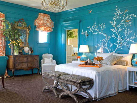 blue-white-orange-bright-colorful-bedroom