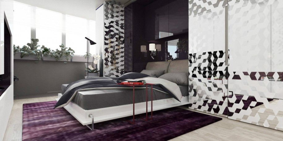 contemporary-bright-master-bedroom-design-ideas-with-stylish-white-wooden-low-profile-bed-platform-added-with-dark-grey-bedding-set-and-functional-curtain-divider