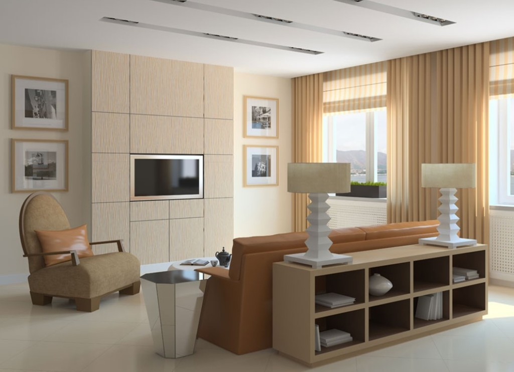living-room with-brown-leather-covering-lounge-sofe