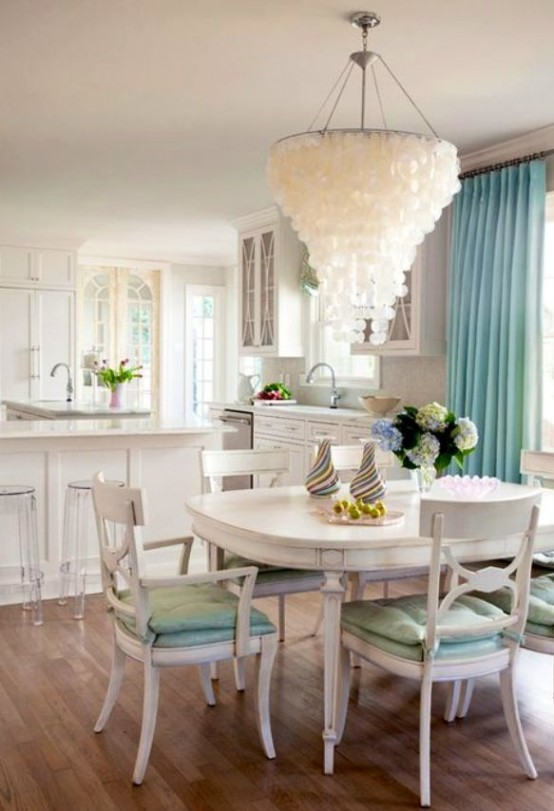 seashell-chandelier-coastal-dining-room-decor-ideas-design-furniture-turqoise-curtain-color-paint