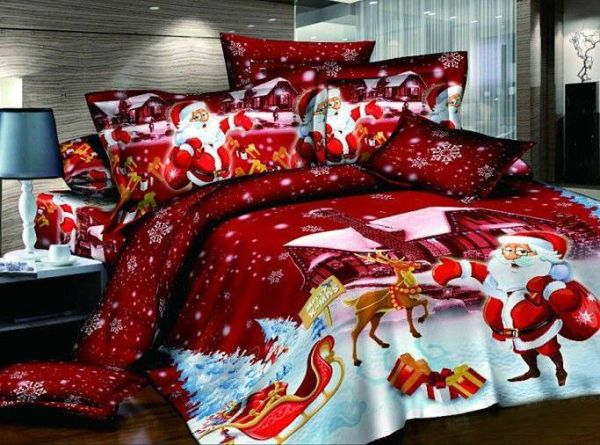 Christmas-themed-bedding-idea-with-santa-claus