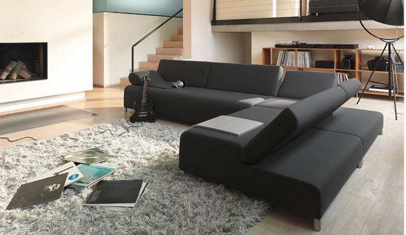 Dark-Black-Sleeper-Sofa-Beds-in-Contemporary-Living-Space-Scheme
