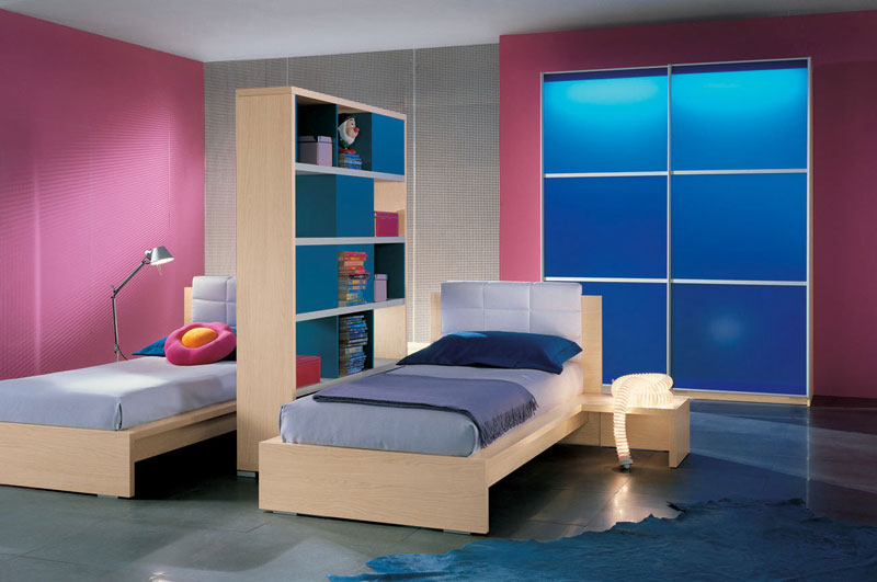 Twin-Bed-in-Dark-Pink-Room-Ideas