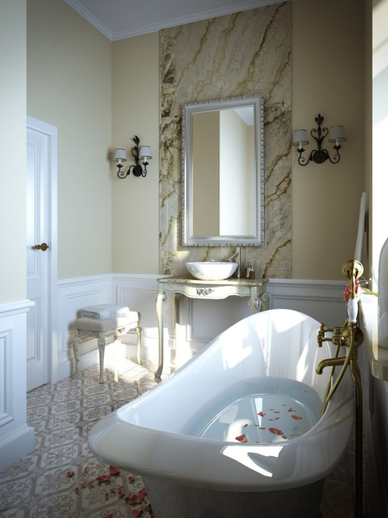 interior-bathroom-designs-ideas-for-beautiful-small-bathroom-with-nice-granite-wall-plus-a-mirror-complete-with-white-bathtub-also-a-sink-and-wall-lamps-plus-nice-flooring-nice-small-bathrooms