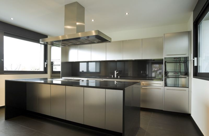 kitchen-cabinets-modern-stainless-steel-