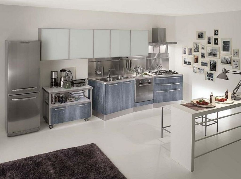 stainless-steel-cabinets kitchen-