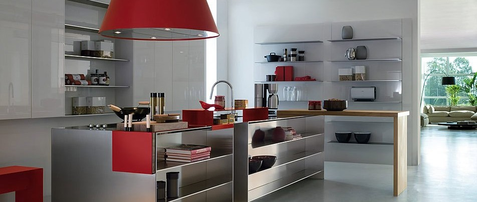 steel-kitchen-with-red-stylle