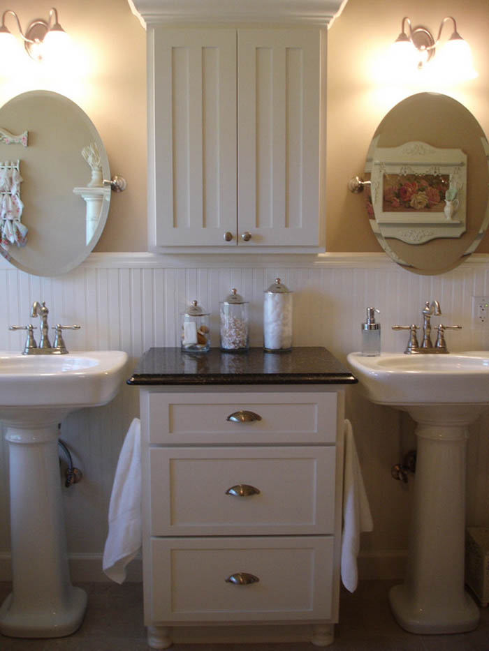stylish-white-bathroom-storage-design-inspiration-with-two-mirror