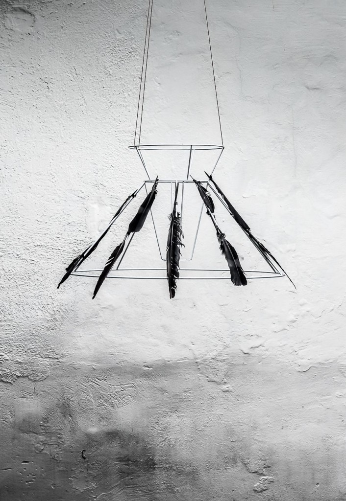 Black-Feather-Chandelier-for-Halloween