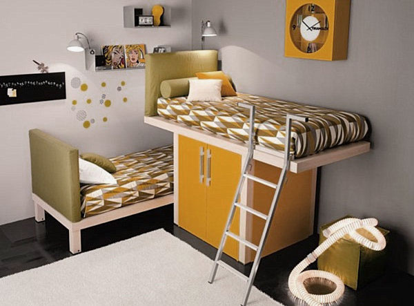 Contemporary-Shared-Kids-Room-with-Modern-Bunk-Beds