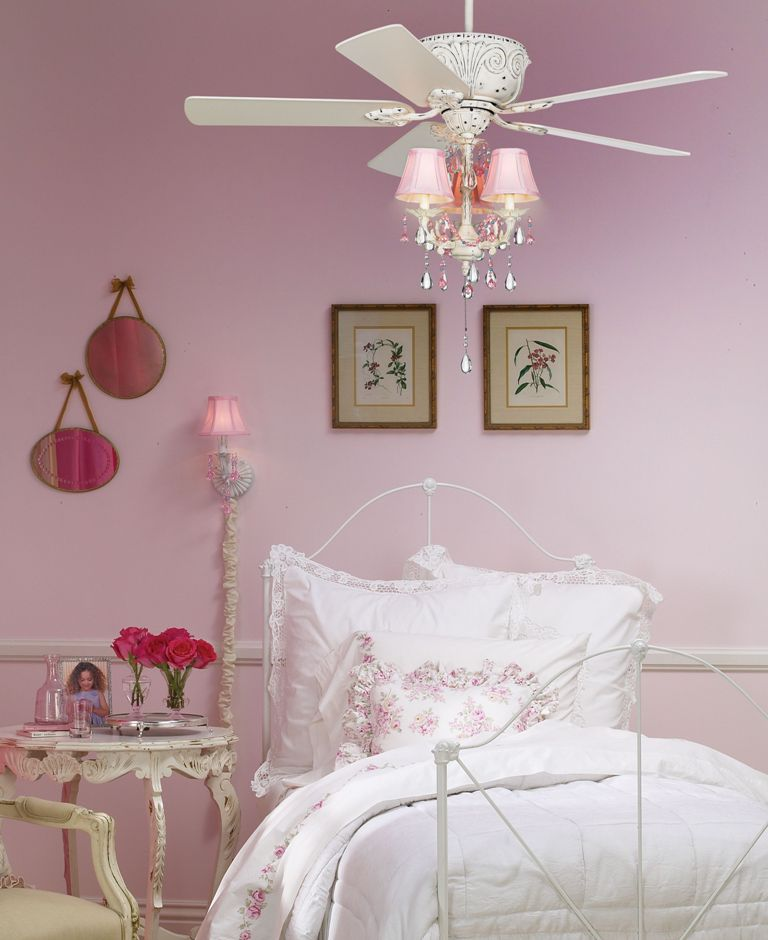Interesting-small-chandelier-feat-ceiling-fan-in-teenage-girl-bedroom-design-ideas