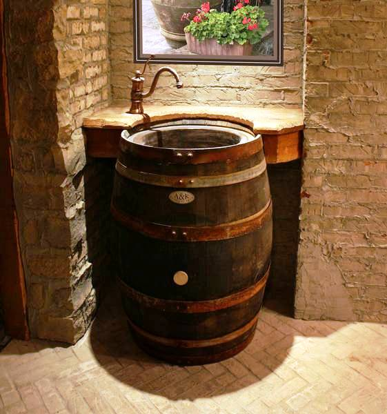 Wine Cellar Wine Barrel Sink