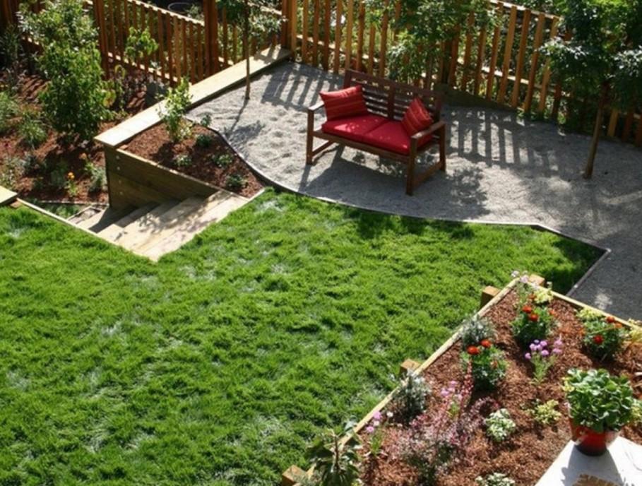 comfy-red-bench-also-raised-garden-design--