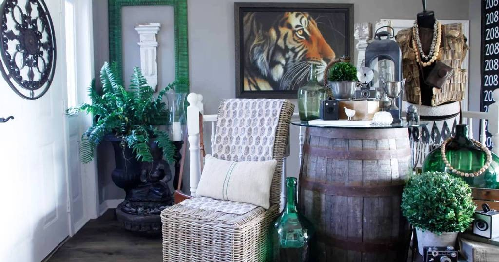wine barrel table storage