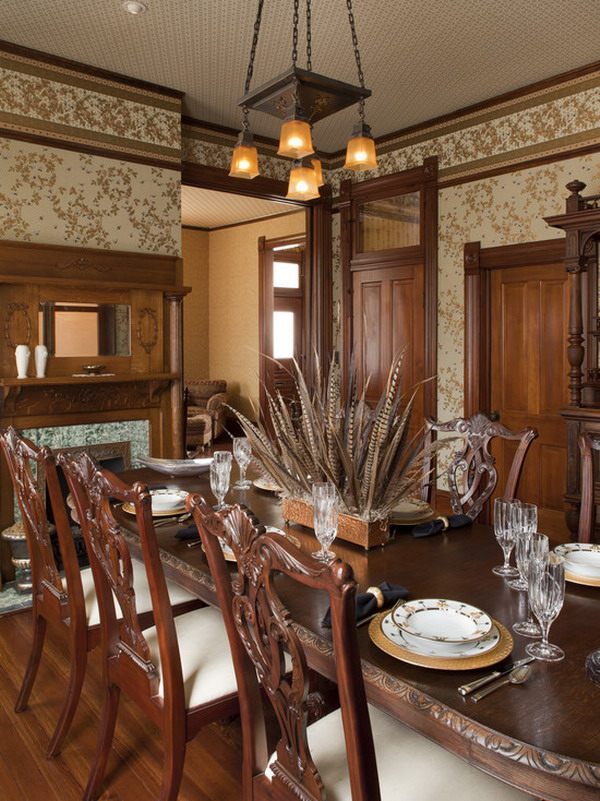 Beautiful-Victorian-Dining-Room-Wallpaper-Murals-Interior