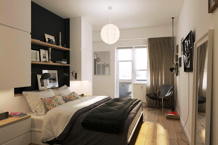 Small-bedroom-in-Russian-apartment-with-smart-shelves