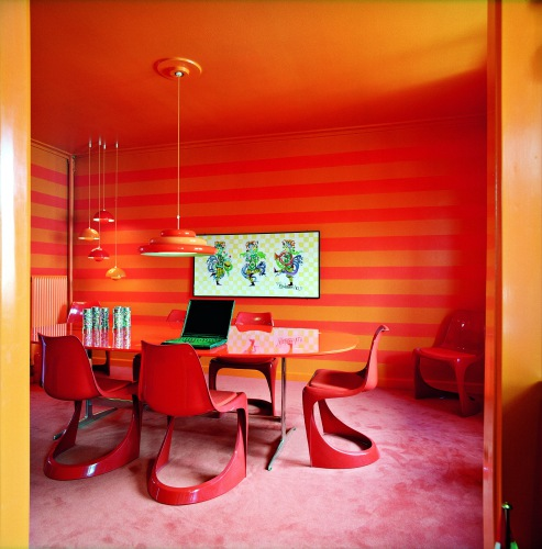 super-modern-bright-red-orange-dining-area