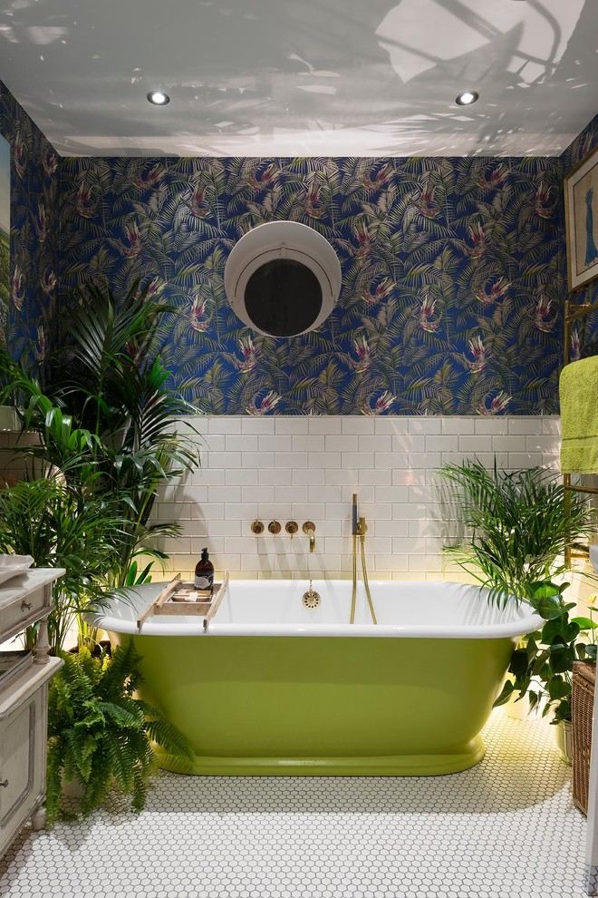 Bathroom Plants and Subway Tiles