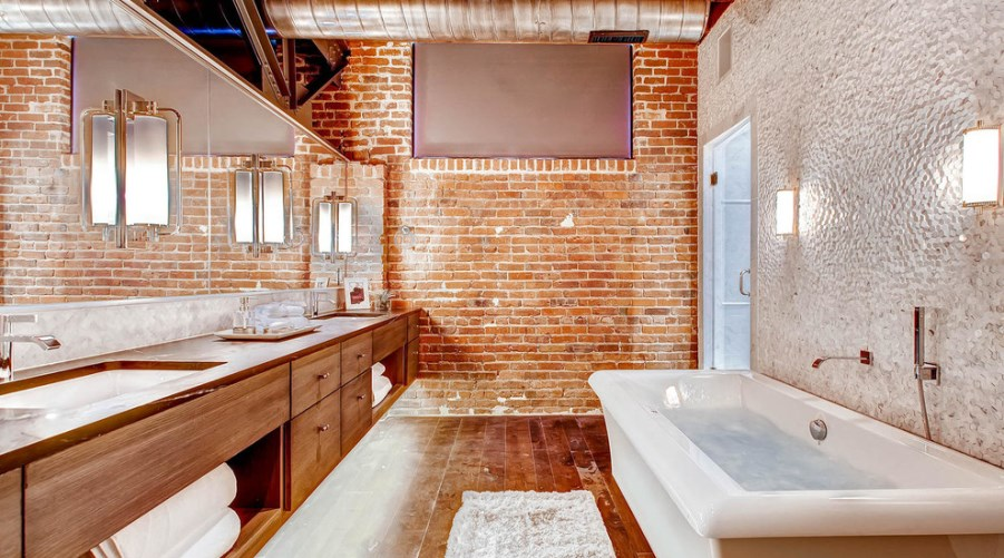 Industrial Chic Bathroom with Brick Walls