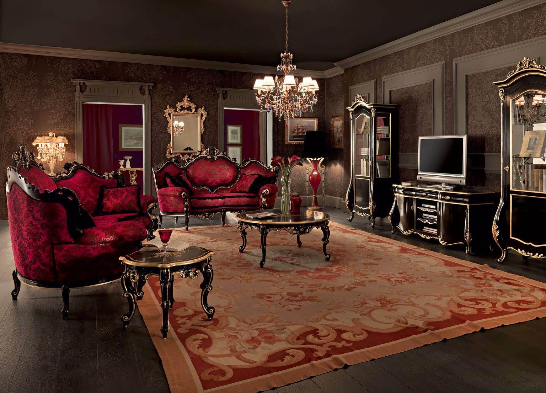 Classic living room wall unit / wood