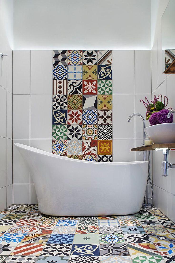 Bold and vivacious Encaustic tiles for the modern Mediterranean bathroom