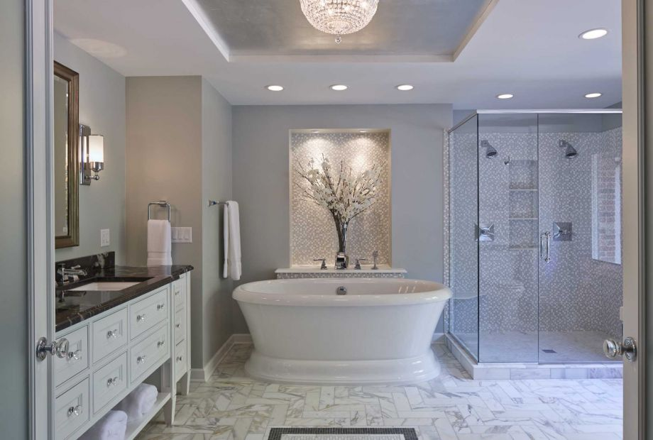 Free-standing tubs are among the top trends for bathrooms