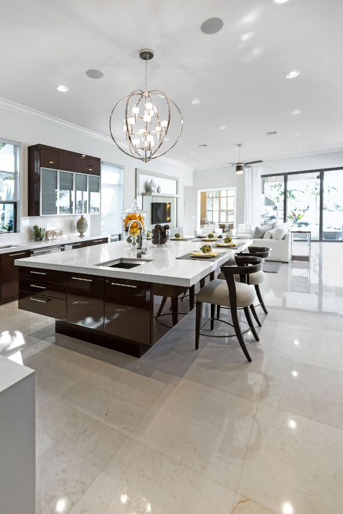 Large modern white and dark brown kitchen