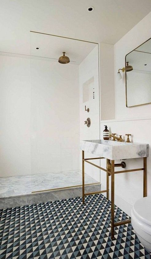 beautiful tiles and sink in bathroom