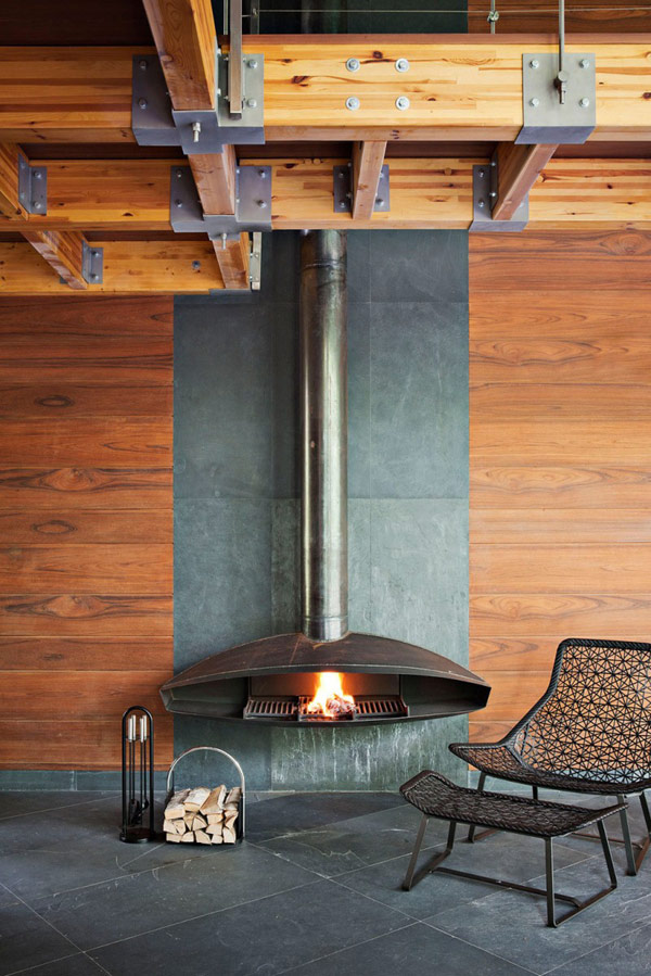 Modern Hanging Fireplace Beams Ceiling Modern House Near Moscow