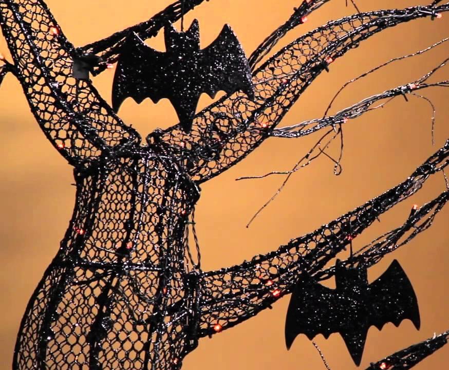Spooky Lit Halloween Tree with Bats