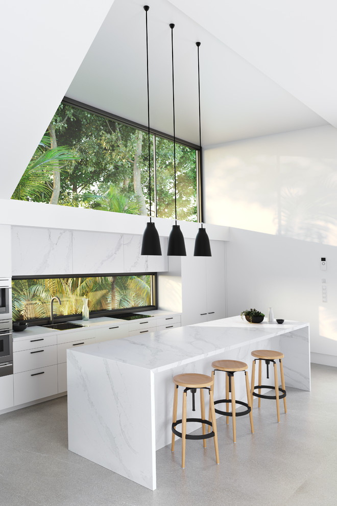 Sleek All White Kitchen