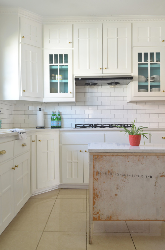 All White Eclectic Kitchen Design