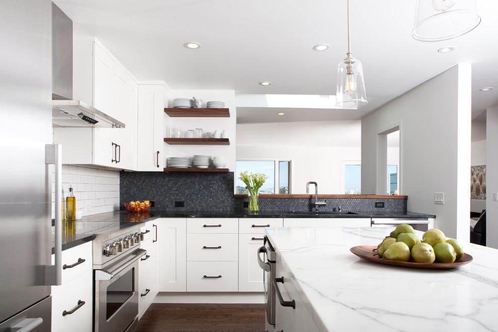 All White Midcentury Kitchen Design