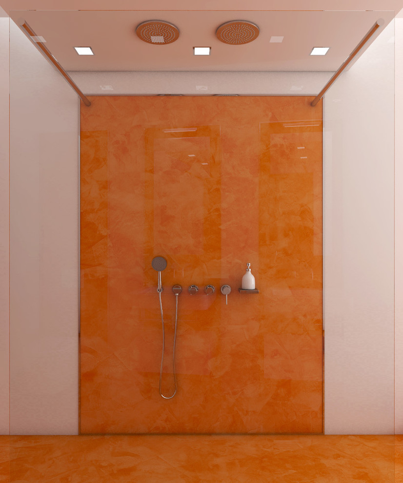 Modern Bathroom Design With Orange Floors