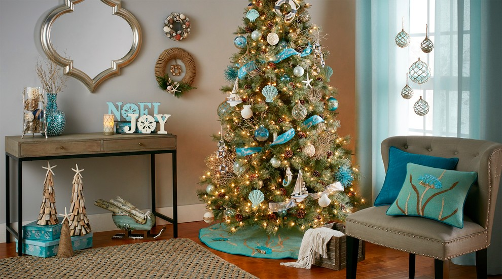 Beach Style Christmas Living Room Decoration Ideas