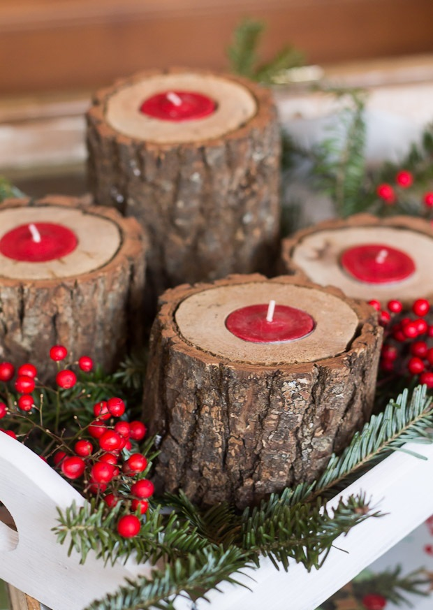 Rustic Wood Light Candle Decoration