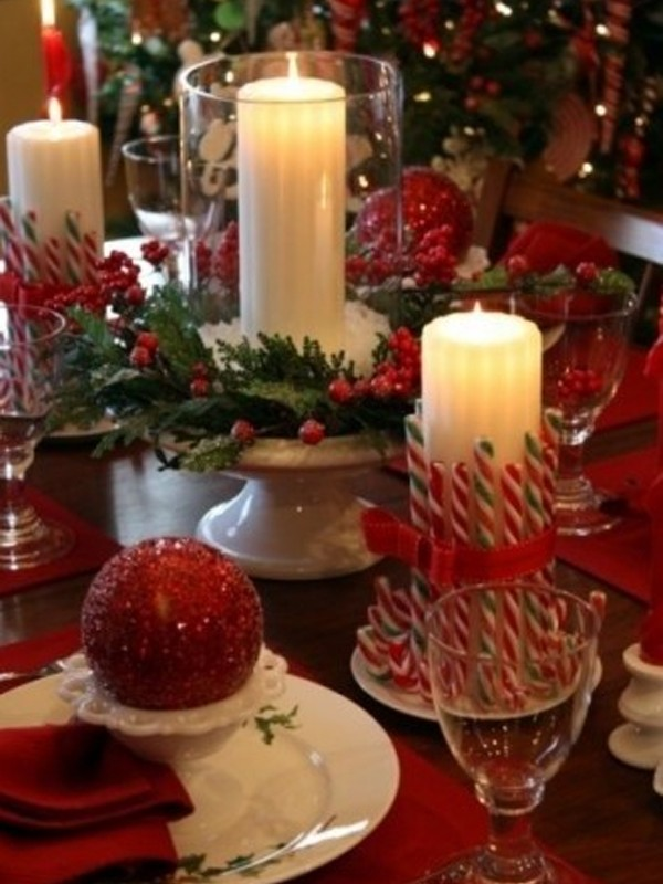 Candy Cane Christmas Table Centerpiece