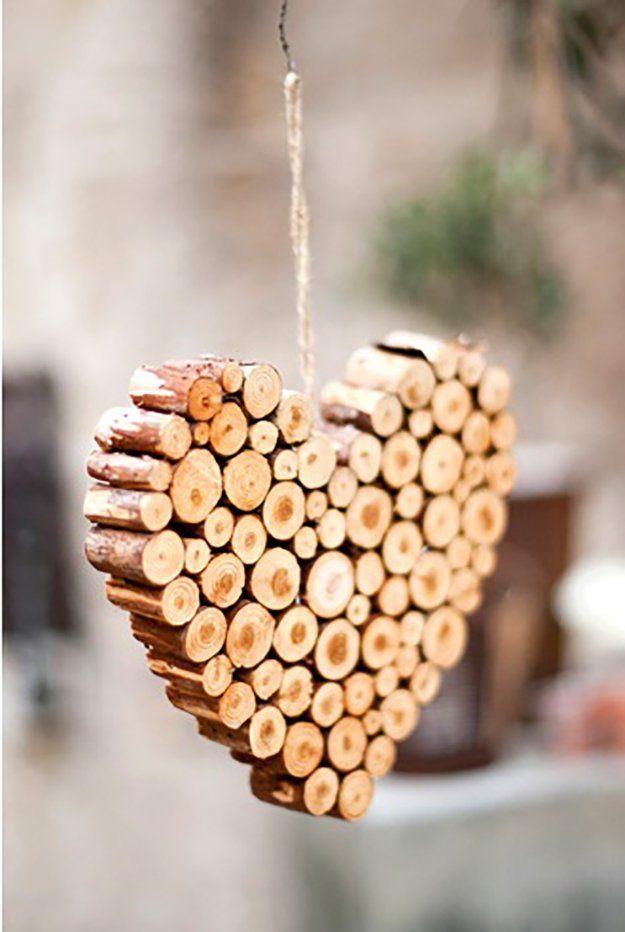 DIY Reclaimed Wood Heart Shape Ornaments