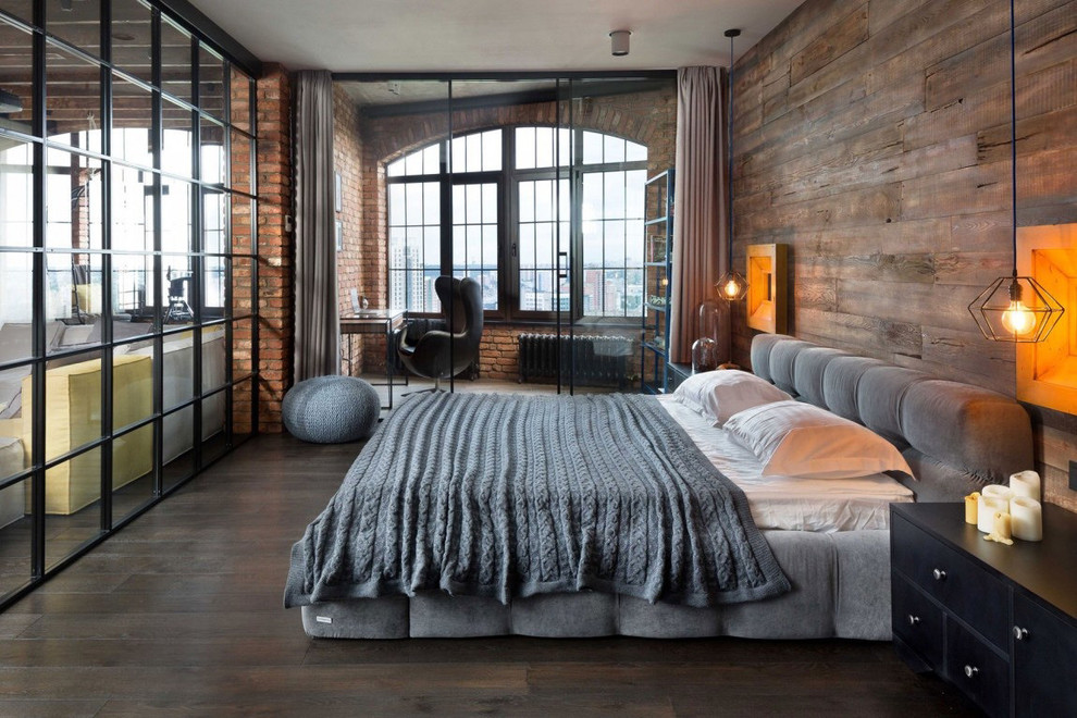 Loft Apartment Industrial Bedroom