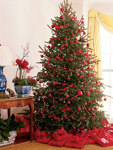 Red and Green Christmas Tree Decorations