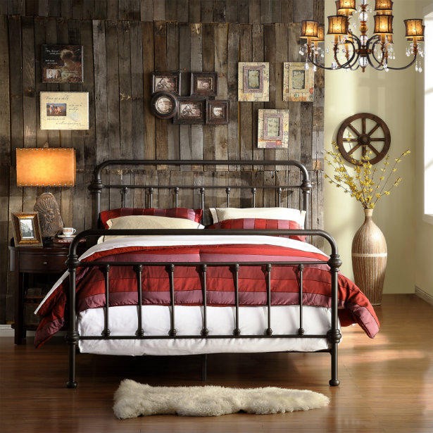 vintage industrial bedroom