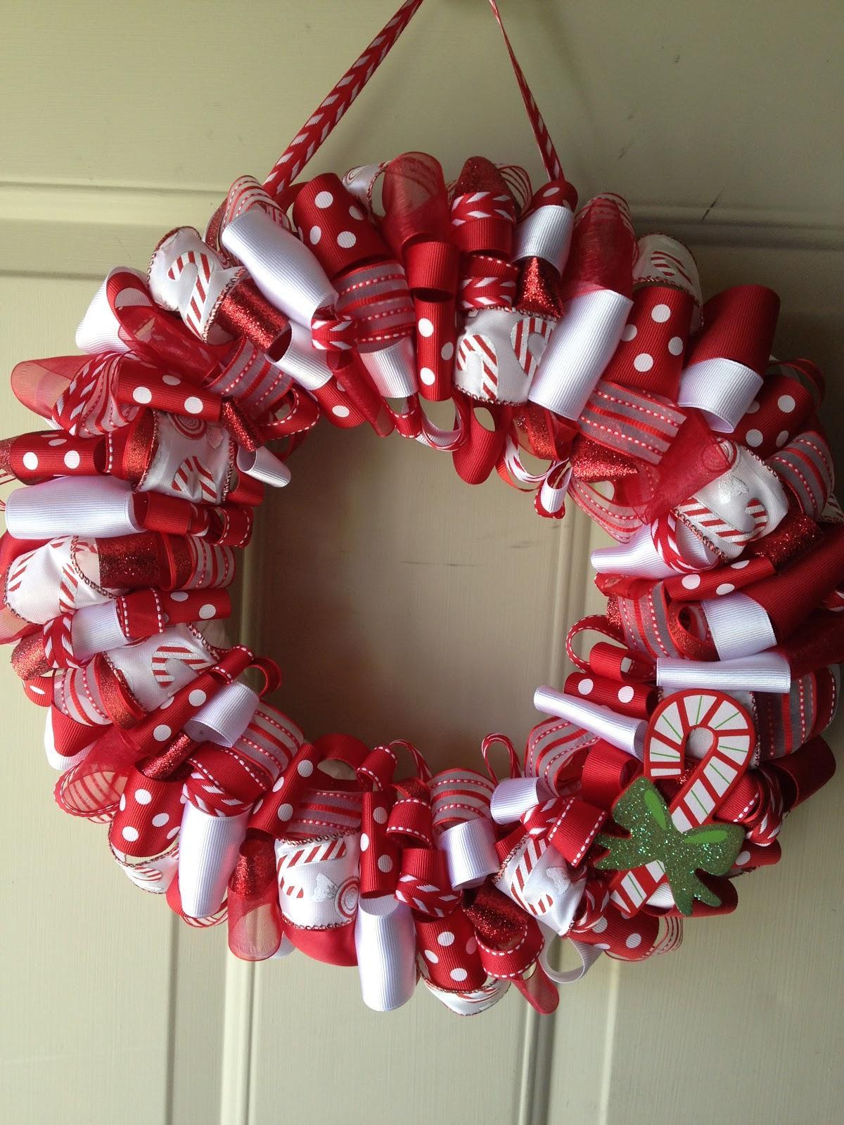 Candy Cane Christmas Wreath Idea