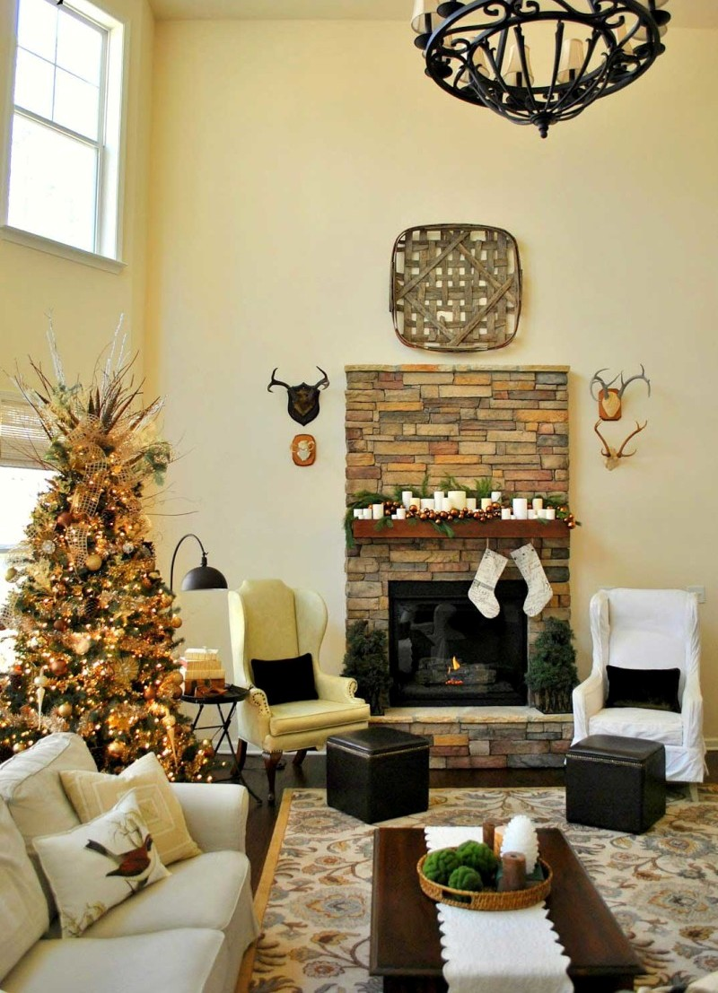 Rustic Christmas Living Room Decorating Ideas