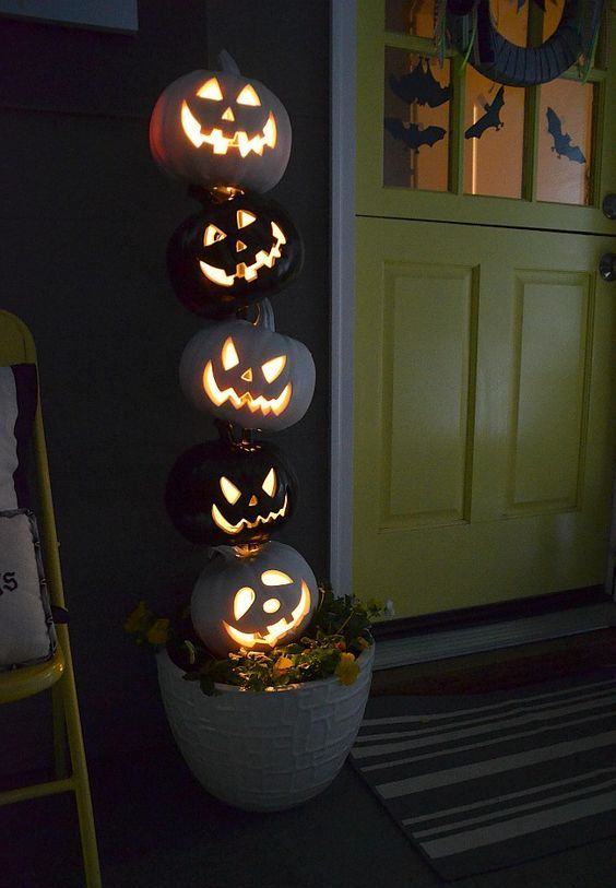Scary Stacked Evil Pumpkins