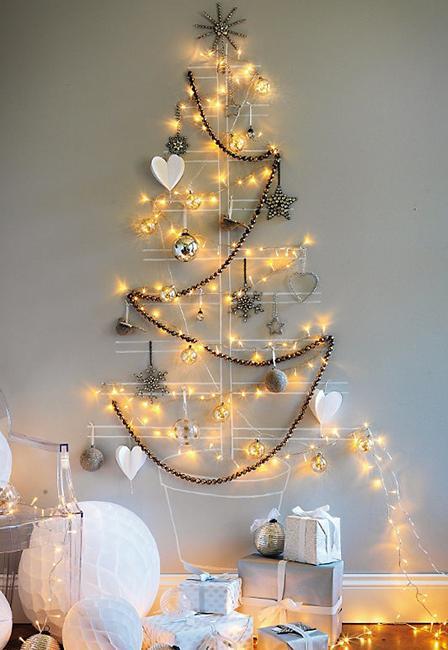 Wall Christmas Trees with Lights