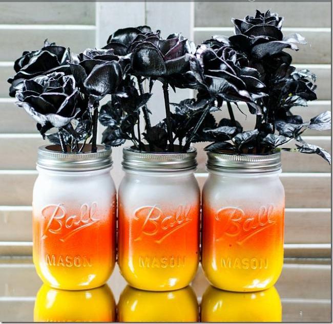 Candy Corn Halloween Mason Jar Craft for Kids